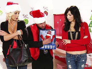 two horny sluts gets a huge christmas gift.