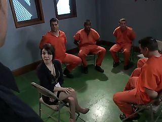 Gorgeous babe doctor is consulting jail prisoners Bobby Bends, John Strong, Jon Jon