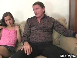 Naughty girl involved into family sex