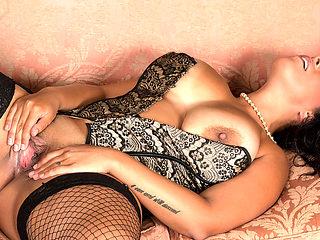 Anastasia Lux in Sexy Fishnet Stockings - Anilos