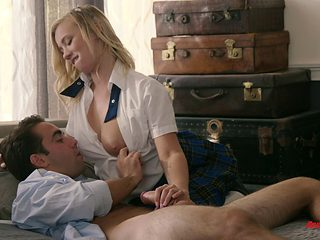 Blonde schoolgirl tasting the erected cock in various positions