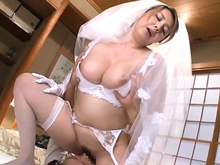 Japanese Asian mature giving blowjob to lucky guy