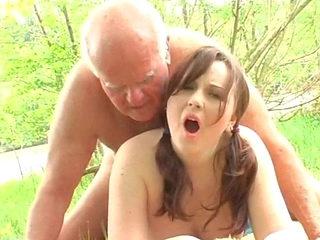 grandpa mireck fuching young Martina near the river