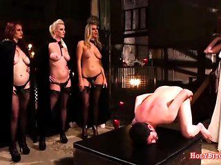 Nasty Mistresses Punish Sissy Boy