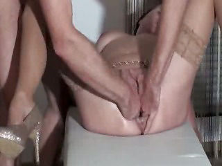 Fist fucking the wife till she pisses herself in orgasm