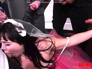Slutty bride gets mouth gangbanged