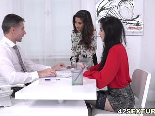 Darcia Lee And Mia Evans Rides Their Boss Big Dick