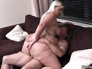 Blonde BBW rides cheating cock
