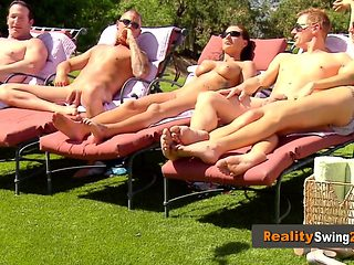 Pool party without bikini gets horny