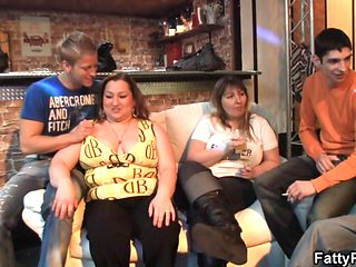 Chubby party girl strip show in the bbw bar
