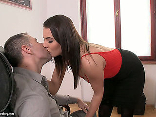 Hawt brunette hair office bitch Vanessa Decker receives her soaked fur pie pushed well