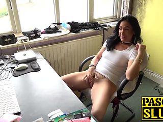 British sub slut Ella Bella doing a solo masturbation