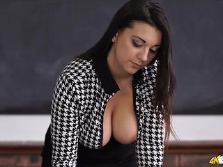 Teacher is a tasty tease with big natural tits