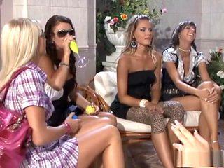 Best pornstars Hana Black, Tarra White and Leony Dark in incredible big tits, blonde adult clip