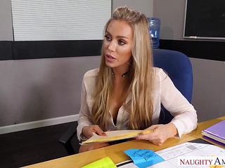 Naughty America Nicole Aniston fucking in the desk with her