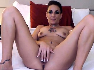 Hot Italian cougar with pierced a-cup tits