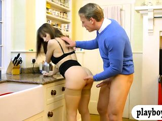 Kinky woman sucks off and drilled on the kitchen table