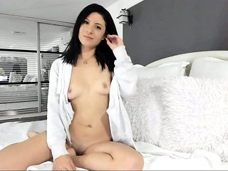 Horny Brunette Solo Masturbation Action