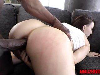 Anal babe teases before interracial assfuck