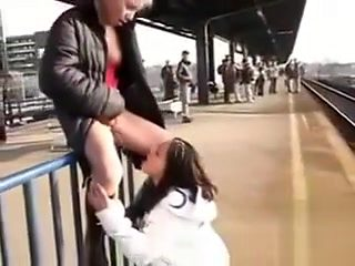 Crazy chicks are doing dirty things in the public places