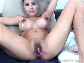 Hottest Shaved Slut Stuffs Her Pussy And Squirts On Camera