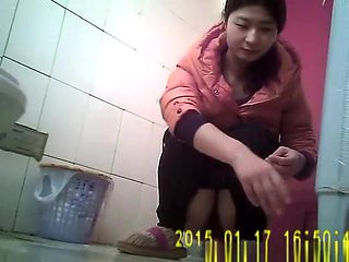 Asian girl with hairy pussy spied in toilet pissing