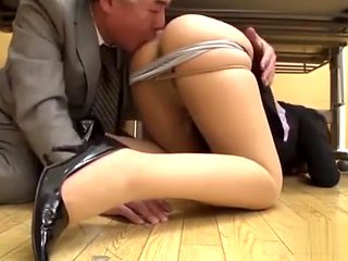 japanese MILF fucked by her old boss at work next to other colleagues !