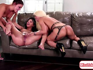 Bride Abella and her two friends enjoy squirting