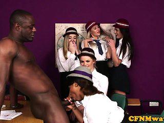 Black british cfnm students tugging teacher