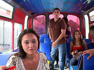 Hot Latina beauties and their handsome perverted boyfriends are fooling around in a bus in front ...