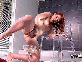 Fantastic sweetie is peeing and finger fucking shaved snatch
