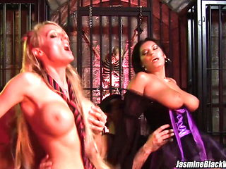 Stacey Saran foursome sex with Jasmine Black in a dungeon