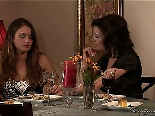 Mature bisexual mother seduces teen sons girlfriend at the family holiday. Mother makes her teen ...