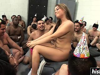Hot babe eats a cake with cum