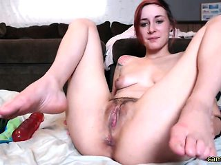 Teen riding a big dildo on webcam