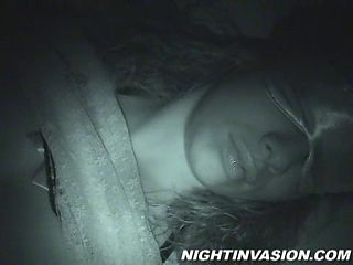 Sexy brunette with big gorgeous tits getting her pussy fingered while she's sleeping