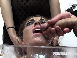 Premium Bukkake - Nona swallows 50 huge mouthful cum loads