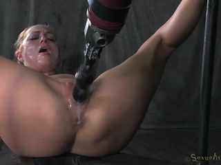 Dildo in her sub cunt and a cock down her throat