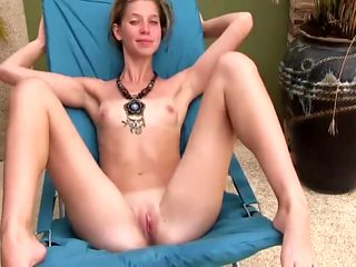 Skinny Teen Beauty Nude By the Pool
