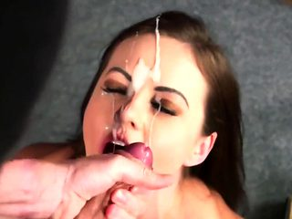 Foxy looker gets sperm load on her face swallowing all the j
