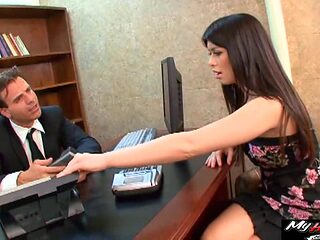 Pretty secretary seduced into banging the boss' long boner