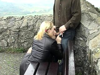 Lusty amateur girl giving hot blowjob for money in public