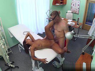 Pierced patient fingerfucked by doctor