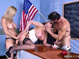 mff threesome in classroom