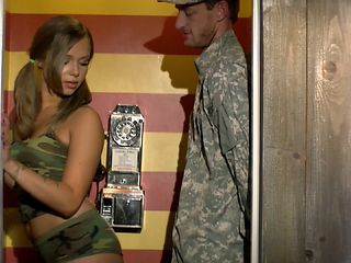 Pretty Liza Rowe getting her pussy stuffed while in the army
