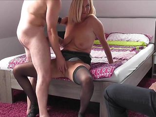 Hot blonde wife cucks hub   he cleans-up