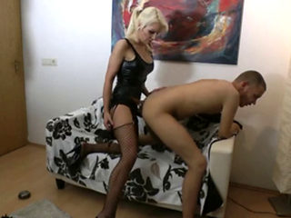 German Girl Fucks Guy With Strapon