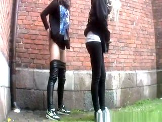 Compilation of women peeing outdoors in public
