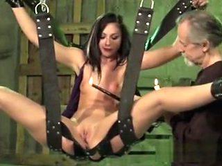 Older Master Waxing Sexy Brunette Slave