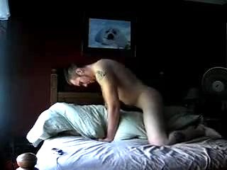 Squeaky bed pillow hump orgasm
